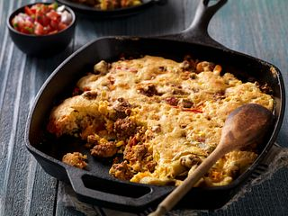 Easy Mexican-Style Beef Sausage Cornbread Skillet