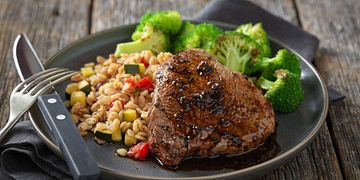 Sweet & Spicy Petite Sirloin Steaks with Vegetable Barley Risotto