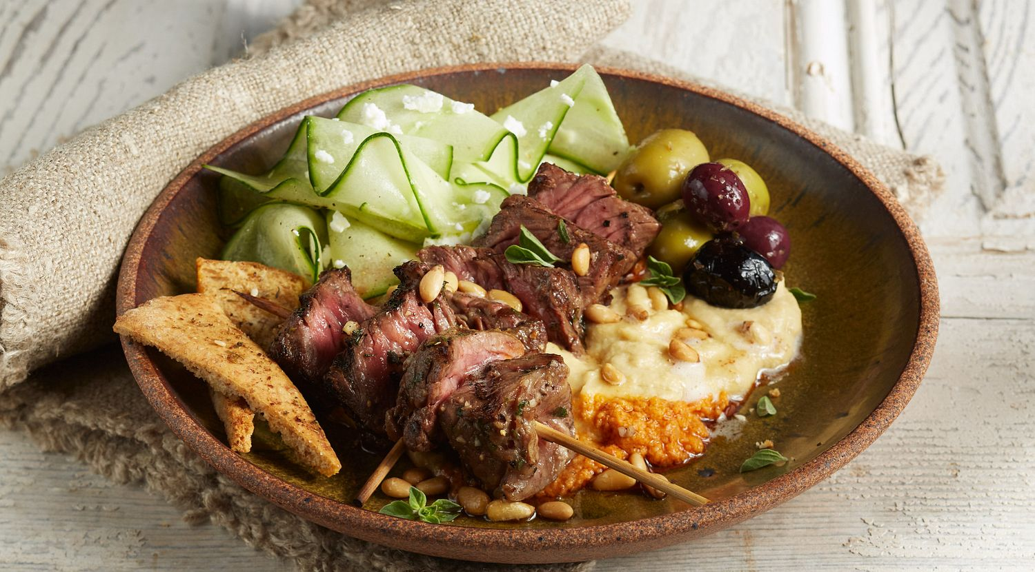 Greek Beef Steak and Hummus Plate