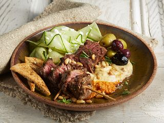 Mezze Steak Skewers Hummus