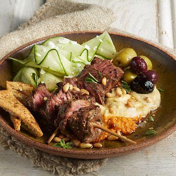 Mezze Steak Skewers Hummus