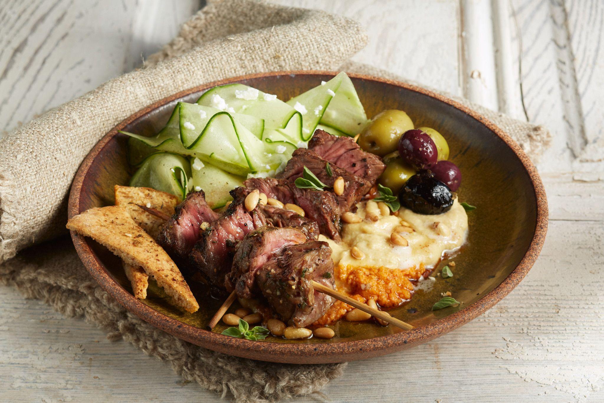 Greek Beef Steak and Hummus Plate