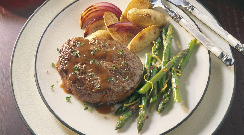 Beef Tenderloin Steaks with Red Wine-Cognac Sauce