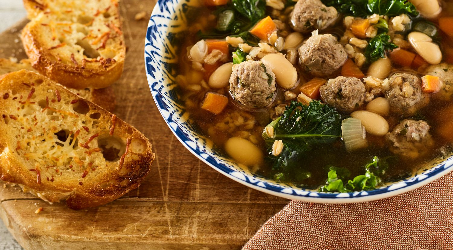 Tuscan Beef Meatball and White Bean Soup