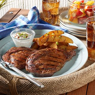 Grilled Ribeye Steaks and Potatoes with Smoky Paprika Rub