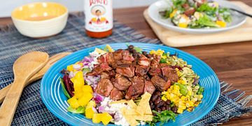 South-of-the-Border Chopped Steak Salad with Creamy Tapatio Hot Sauce Dressing