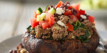 Greek-Style Beef Stuffed Portobello Mushrooms