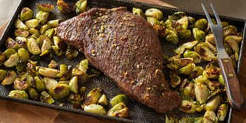One Pan Roasted Beef Tri-Tip and Brussels Sprouts