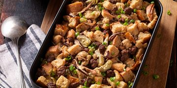 Beef Sausage, Wild Mushroom & Artichoke Bread PUdding