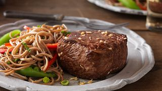 Asian Strip Filets with Soba Noodle and Vegetable Salad