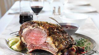 Beef Rib Roast with Red Wine-Cherry Sauce