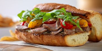Italian Beef and Roasted Vegetable Sandwich