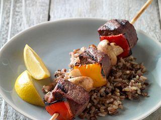 Beef, Pepper & Mushroom Kabobs Vertical