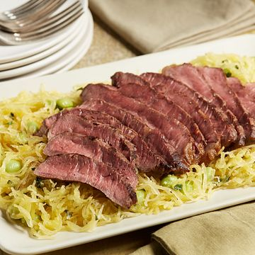 Grilled Sirloin Steak with Spaghetti Squash and Edamame