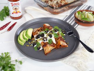Tapatio Hot Sauce Beef Enchiladas