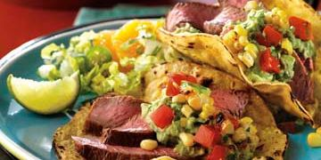 Steak and Grilled Corn Tortillas