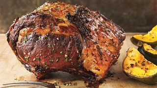 Maple-Glazed Rib Roast with Roasted Acorn Squash