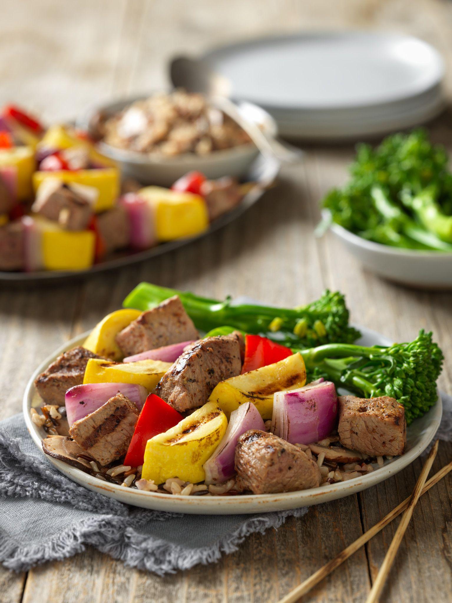 Dijon-Wine Steak Kabobs with Mushroom Wild Rice