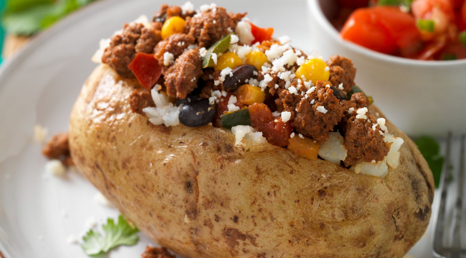 Mexican-Style Beef Sausage Baked Potatoes