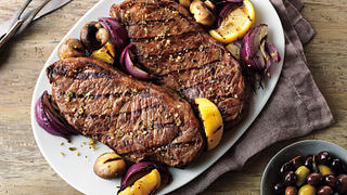 Grecian Beef Top Loin Steaks and Mushroom Kabobs