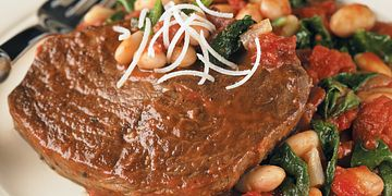 Braised Beef with Tomato-Garlic White Beans