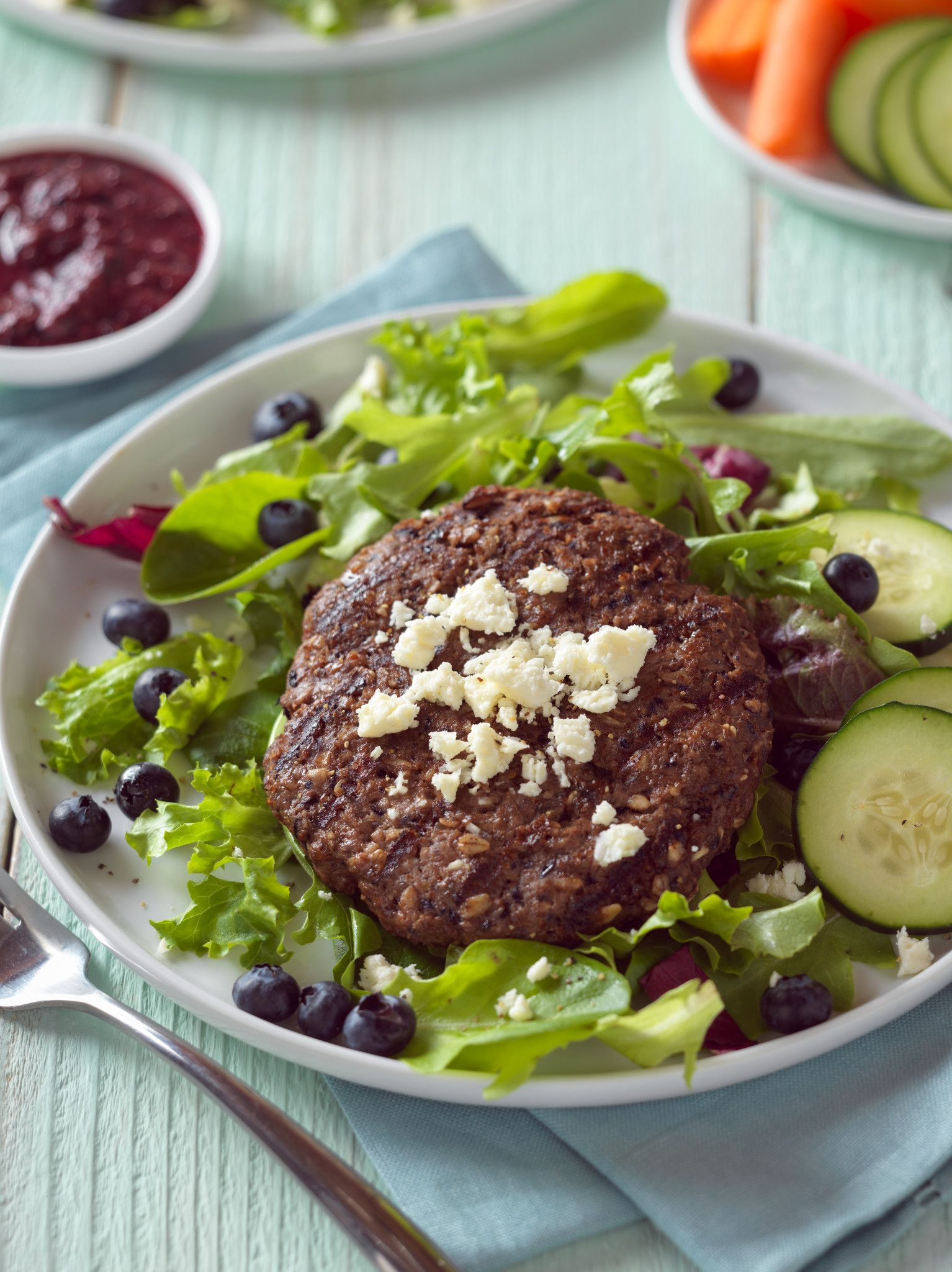 Beef, Blueberry & Flax Burgers
