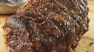 Garlic and Tri-Pepper Crusted Beef Roast with Balsamic Sauce