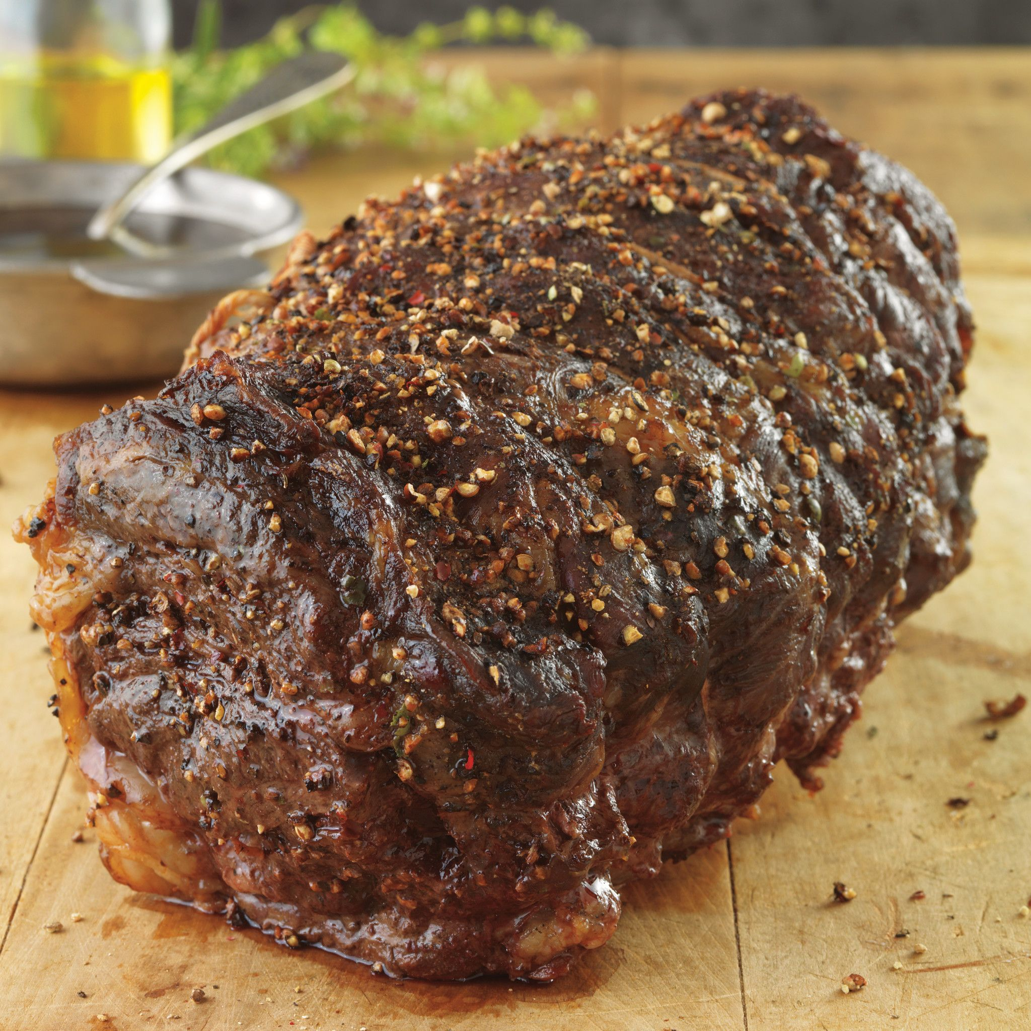 Garlic and Tri-Pepper-Crusted Beef Roast with Balsamic Sauce