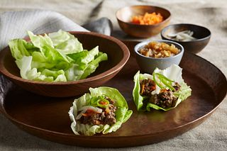 Crispy Beef Lettuce Wraps with Wowee Sauce