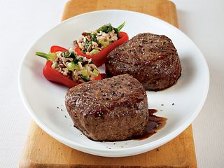 Petite Steaks with Wild Rice Baby Peppers