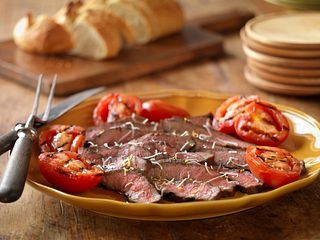 Grilled Balsamic Steak and Tomatoes