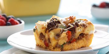 Spicy Beef Breakfast Strata