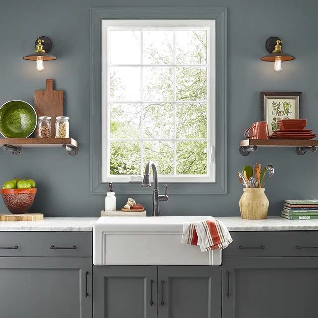 Kitchen painted in CHARCOAL
