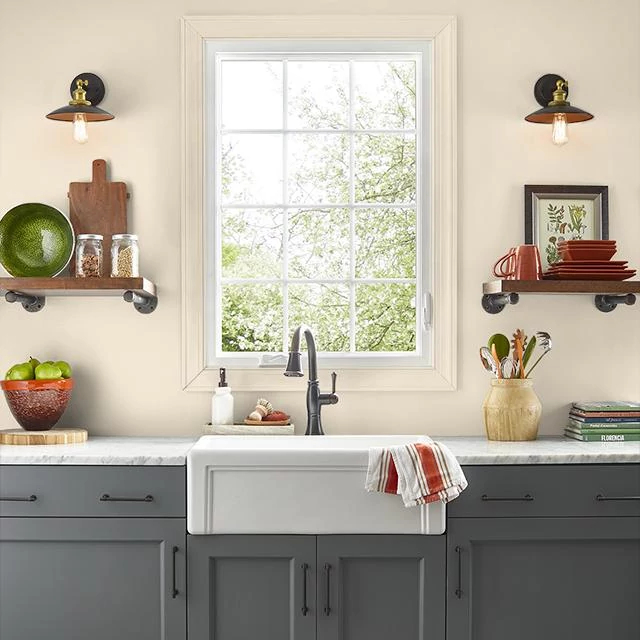 Kitchen painted in PALE ALMOND