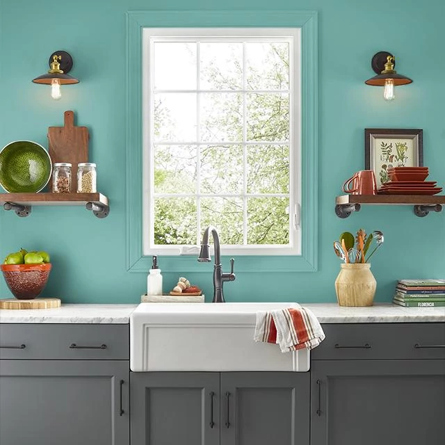 Kitchen painted in TAHITIAN GREEN