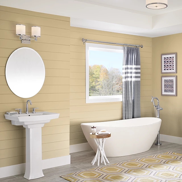 Bathroom painted in PALE ALE