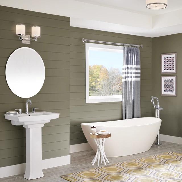 Bathroom painted in TEA LEAF
