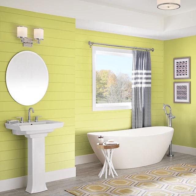 Bathroom painted in LIMING