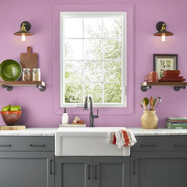 Kitchen painted in BERRY PUNCH