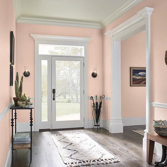 Foyer painted in GOSSAMER PEACH