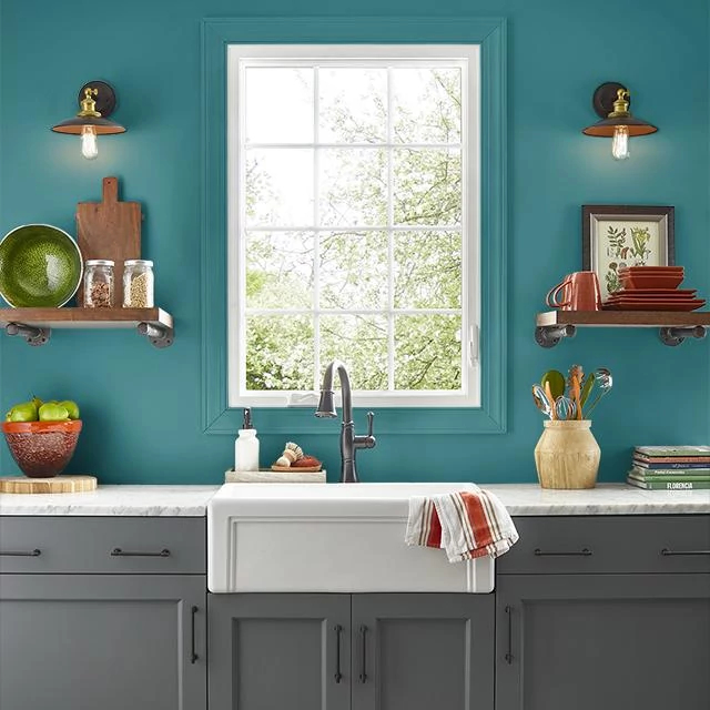 Kitchen painted in TEAL TREAT