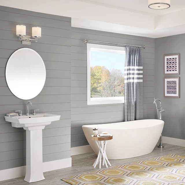 Bathroom painted in LAVENDER GRAY