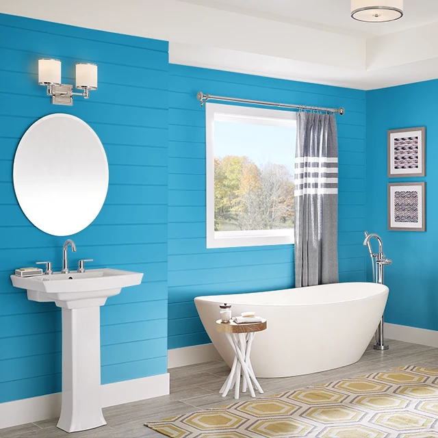 Bathroom painted in HERO BLUE
