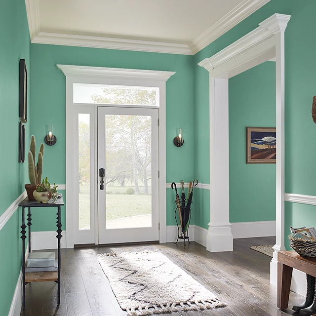 Foyer painted in EMERALD STREAM