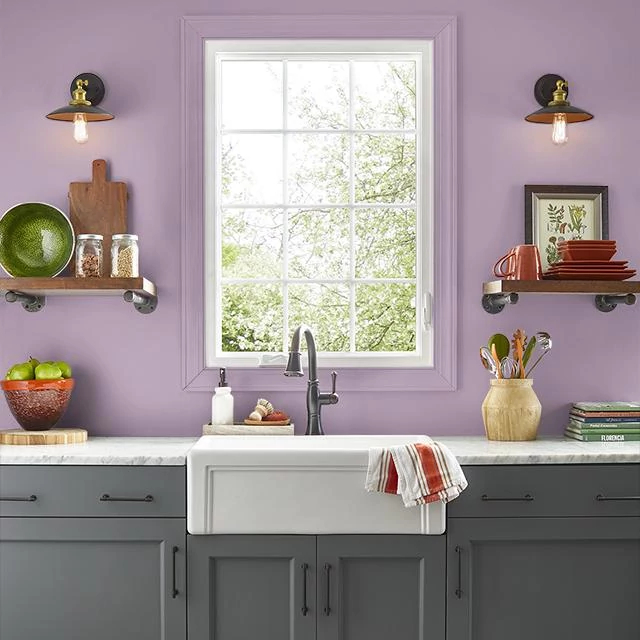 Kitchen painted in BERRY BLOOM