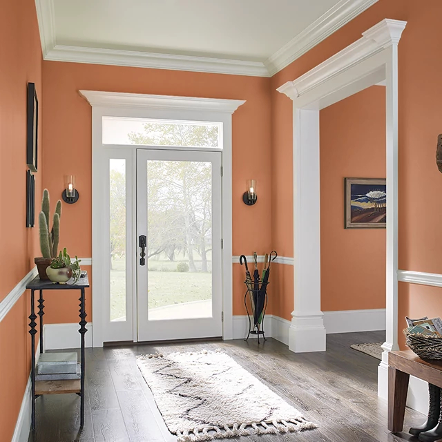Foyer painted in HOT AUGUST