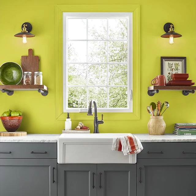 Kitchen painted in GREEN GONE WILD