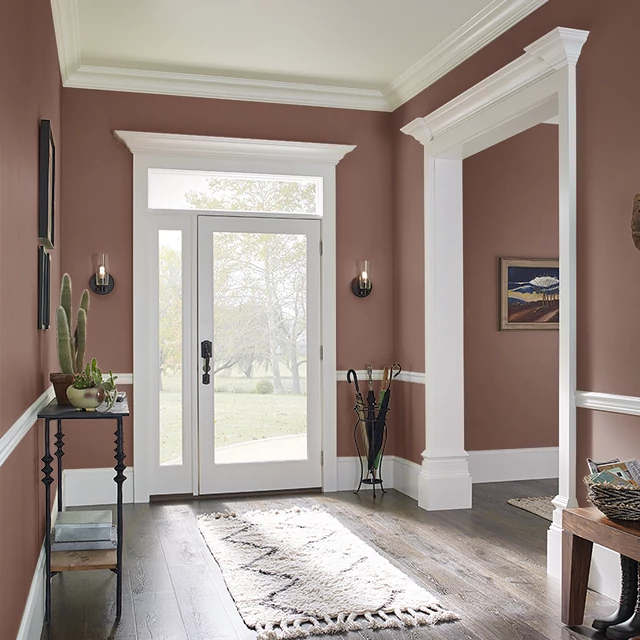 Foyer painted in RICH LEATHER