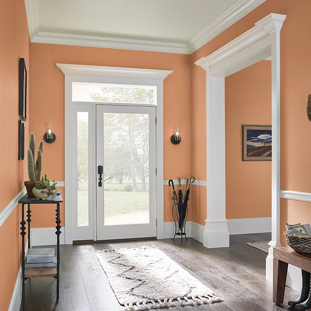 Foyer painted in POM POM ORANGE
