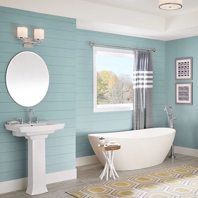 Bathroom painted in BLUE JUNIPER